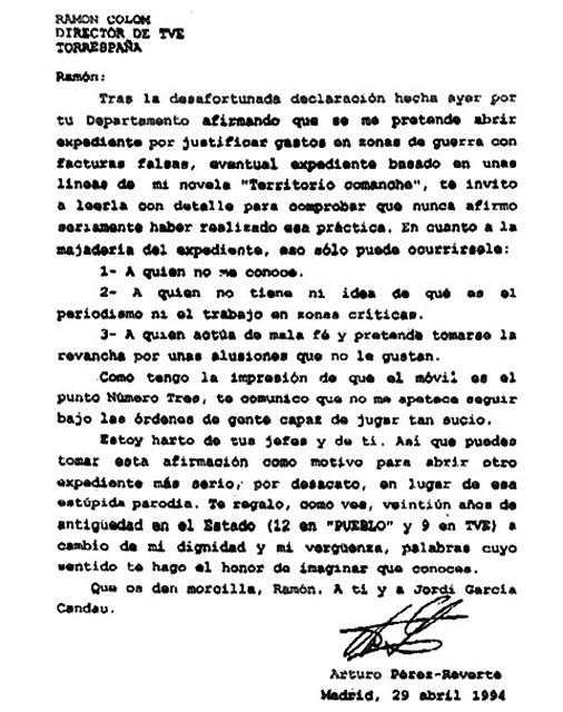 Carta de dimisión de Perez-Reverte - RTVE 1994