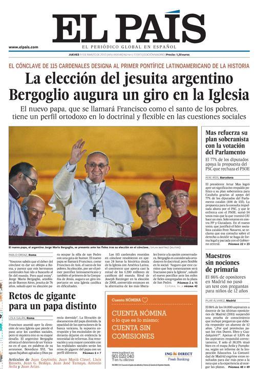 Portada de El País 14-marzo-2013